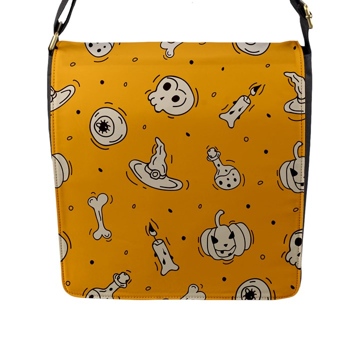 Funny Halloween Party Pattern Flap Closure Messenger Bag (L)