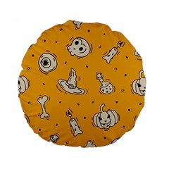 Funny Halloween Party Pattern Standard 15  Premium Flano Round Cushions