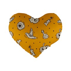 Funny Halloween Party Pattern Standard 16  Premium Flano Heart Shape Cushions