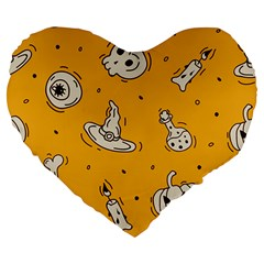 Funny Halloween Party Pattern Large 19  Premium Flano Heart Shape Cushions
