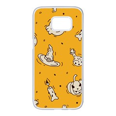 Funny Halloween Party Pattern Samsung Galaxy S7 Edge White Seamless Case