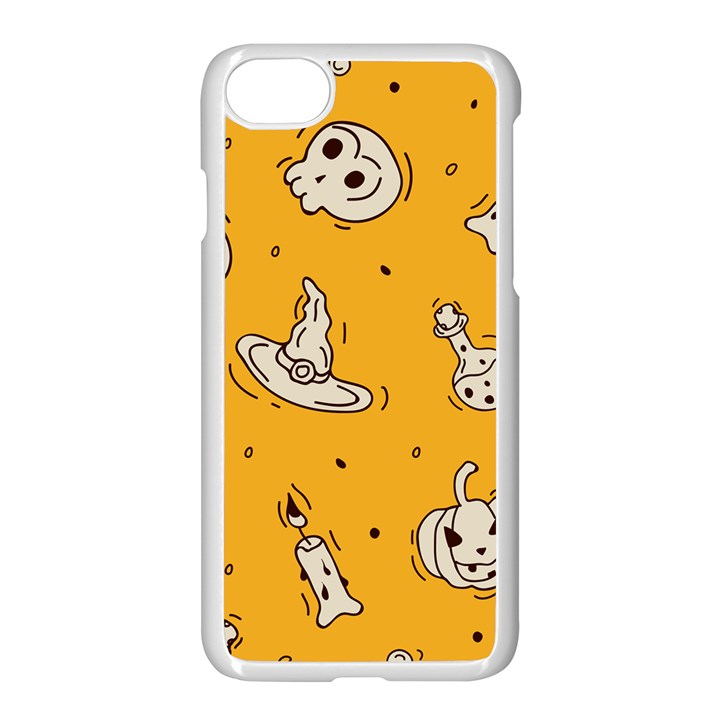 Funny Halloween Party Pattern Apple iPhone 8 Seamless Case (White)