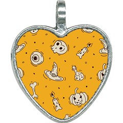 Funny Halloween Party Pattern Heart Necklace