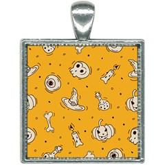 Funny Halloween Party Pattern Square Necklace