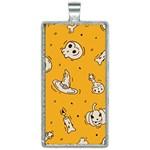 Funny Halloween Party Pattern Rectangle Necklace Front
