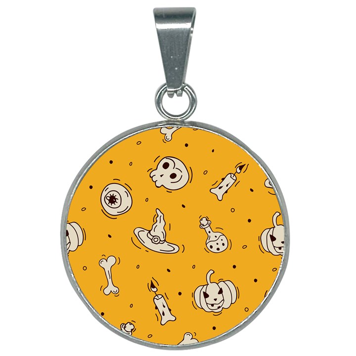 Funny Halloween Party Pattern 25mm Round Necklace