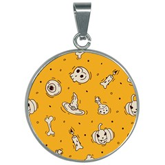 Funny Halloween Party Pattern 30mm Round Necklace