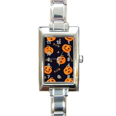 Funny Scary Black Orange Halloween Pumpkins Pattern Rectangle Italian Charm Watch