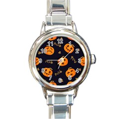 Funny Scary Black Orange Halloween Pumpkins Pattern Round Italian Charm Watch