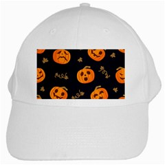 Funny Scary Black Orange Halloween Pumpkins Pattern White Cap by HalloweenParty