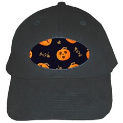 Funny Scary Black Orange Halloween Pumpkins Pattern Black Cap by HalloweenParty