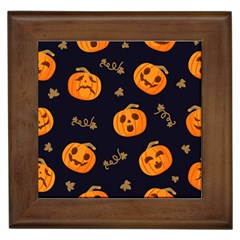 Funny Scary Black Orange Halloween Pumpkins Pattern Framed Tiles