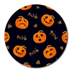 Funny Scary Black Orange Halloween Pumpkins Pattern Round Mousepads