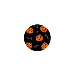 Funny Scary Black Orange Halloween Pumpkins Pattern 1  Mini Buttons by HalloweenParty