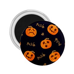 Funny Scary Black Orange Halloween Pumpkins Pattern 2 25  Magnets