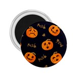 Funny Scary Black Orange Halloween Pumpkins Pattern 2.25  Magnets Front