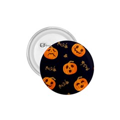 Funny Scary Black Orange Halloween Pumpkins Pattern 1 75  Buttons