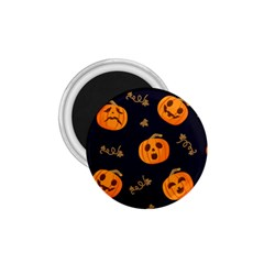 Funny Scary Black Orange Halloween Pumpkins Pattern 1 75  Magnets