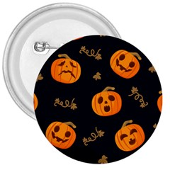 Funny Scary Black Orange Halloween Pumpkins Pattern 3  Buttons