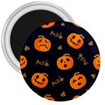 Funny Scary Black Orange Halloween Pumpkins Pattern 3  Magnets Front