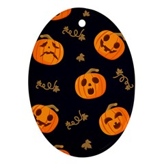Funny Scary Black Orange Halloween Pumpkins Pattern Ornament (oval)