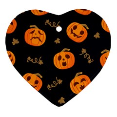 Funny Scary Black Orange Halloween Pumpkins Pattern Ornament (heart)