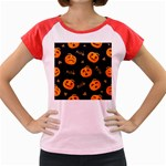 Funny Scary Black Orange Halloween Pumpkins Pattern Women s Cap Sleeve T-Shirt Front