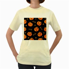Funny Scary Black Orange Halloween Pumpkins Pattern Women s Yellow T Shirt