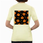 Funny Scary Black Orange Halloween Pumpkins Pattern Women s Yellow T-Shirt Back