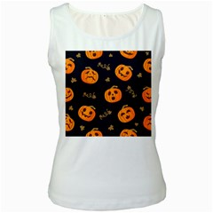 Funny Scary Black Orange Halloween Pumpkins Pattern Women s White Tank Top