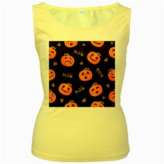 Funny Scary Black Orange Halloween Pumpkins Pattern Women s Yellow Tank Top