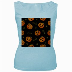 Funny Scary Black Orange Halloween Pumpkins Pattern Women s Baby Blue Tank Top