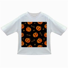 Funny Scary Black Orange Halloween Pumpkins Pattern Infant/toddler T Shirts