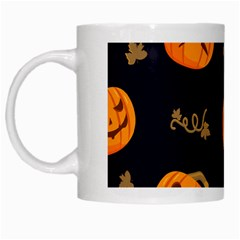 Funny Scary Black Orange Halloween Pumpkins Pattern White Mugs by HalloweenParty