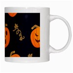 Funny Scary Black Orange Halloween Pumpkins Pattern White Mugs Right