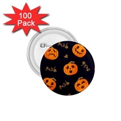 Funny Scary Black Orange Halloween Pumpkins Pattern 1 75  Buttons (100 Pack)