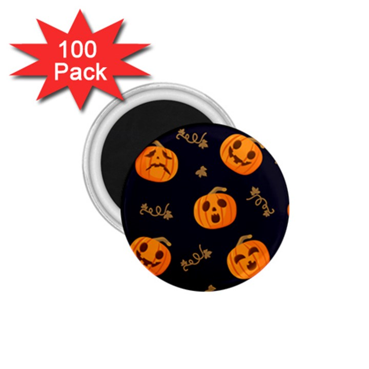 Funny Scary Black Orange Halloween Pumpkins Pattern 1.75  Magnets (100 pack)