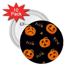 Funny Scary Black Orange Halloween Pumpkins Pattern 2 25  Buttons (10 Pack)
