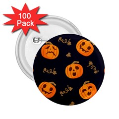 Funny Scary Black Orange Halloween Pumpkins Pattern 2 25  Buttons (100 Pack)