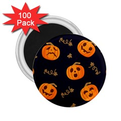 Funny Scary Black Orange Halloween Pumpkins Pattern 2 25  Magnets (100 Pack)