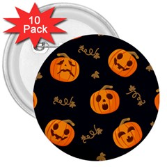 Funny Scary Black Orange Halloween Pumpkins Pattern 3  Buttons (10 Pack)  by HalloweenParty