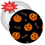 Funny Scary Black Orange Halloween Pumpkins Pattern 3  Buttons (10 pack)  Front