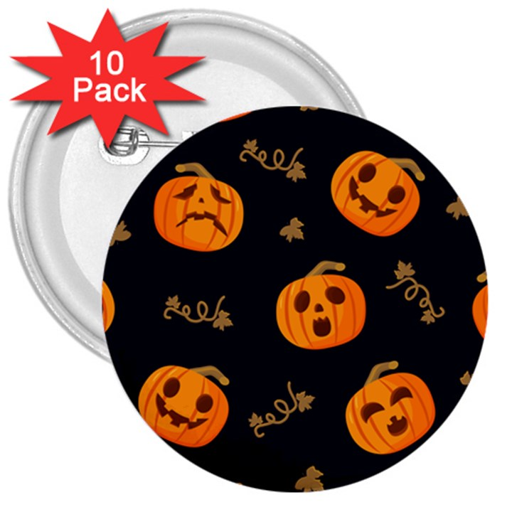 Funny Scary Black Orange Halloween Pumpkins Pattern 3  Buttons (10 pack)