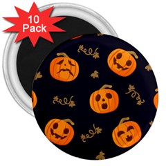 Funny Scary Black Orange Halloween Pumpkins Pattern 3  Magnets (10 Pack)