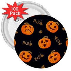 Funny Scary Black Orange Halloween Pumpkins Pattern 3  Buttons (100 Pack)