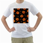 Funny Scary Black Orange Halloween Pumpkins Pattern Men s T-Shirt (White) (Two Sided) Front
