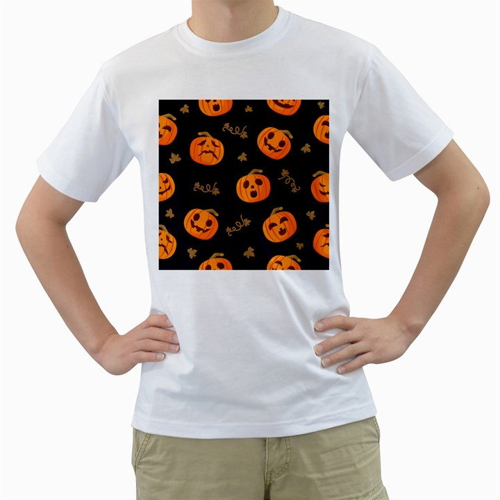Funny Scary Black Orange Halloween Pumpkins Pattern Men s T-Shirt (White) (Two Sided)
