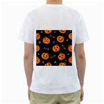 Funny Scary Black Orange Halloween Pumpkins Pattern Men s T-Shirt (White) (Two Sided) Back