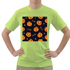 Funny Scary Black Orange Halloween Pumpkins Pattern Green T Shirt