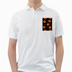 Funny Scary Black Orange Halloween Pumpkins Pattern Golf Shirt
